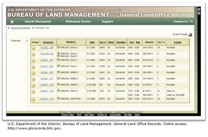 Bureau of Land Management online patent records