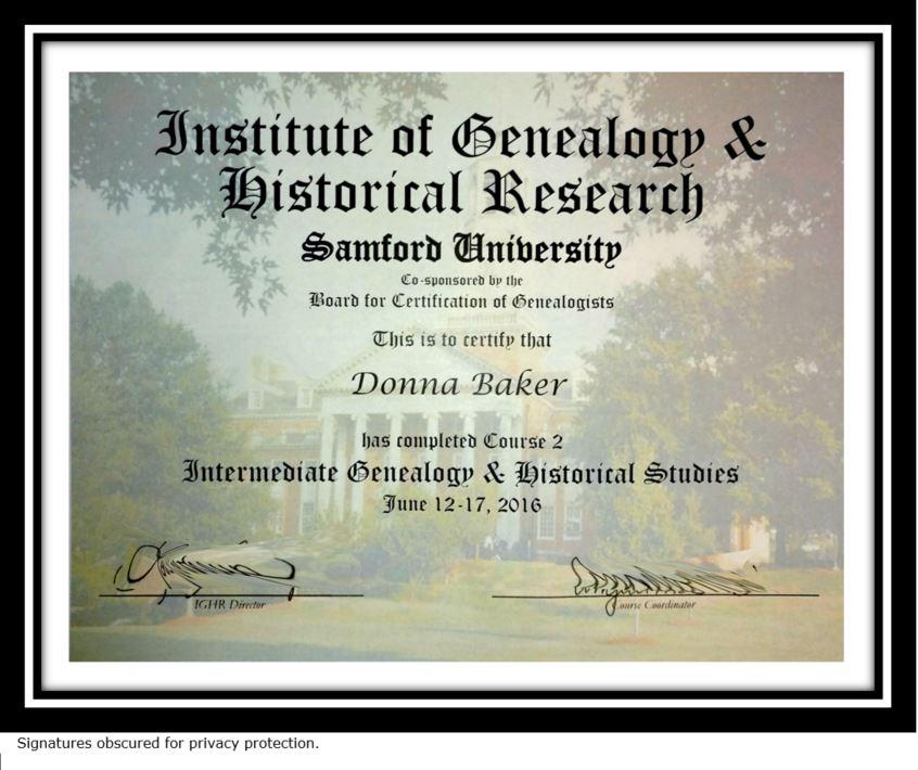 IGHR Course 2 Certificate -- Donna Baker