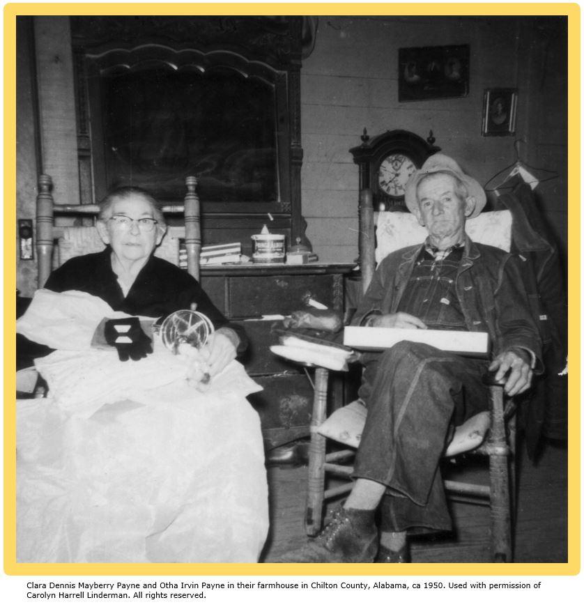 Photo context subjects Clara Dennis Mayberry Payne and Otha Irvin Payne in their Chilton County, Alabama, farmhouse ca. 1950