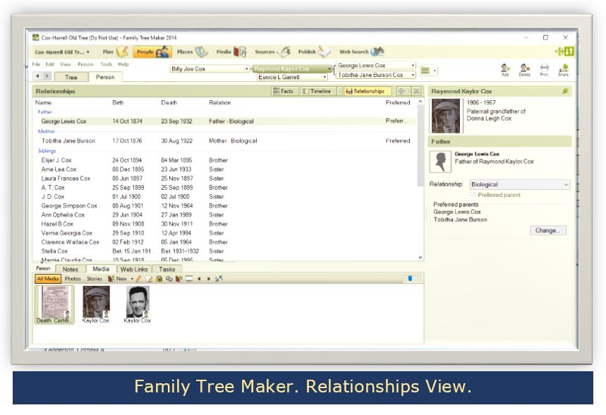Family Tree Maker. Relationship View