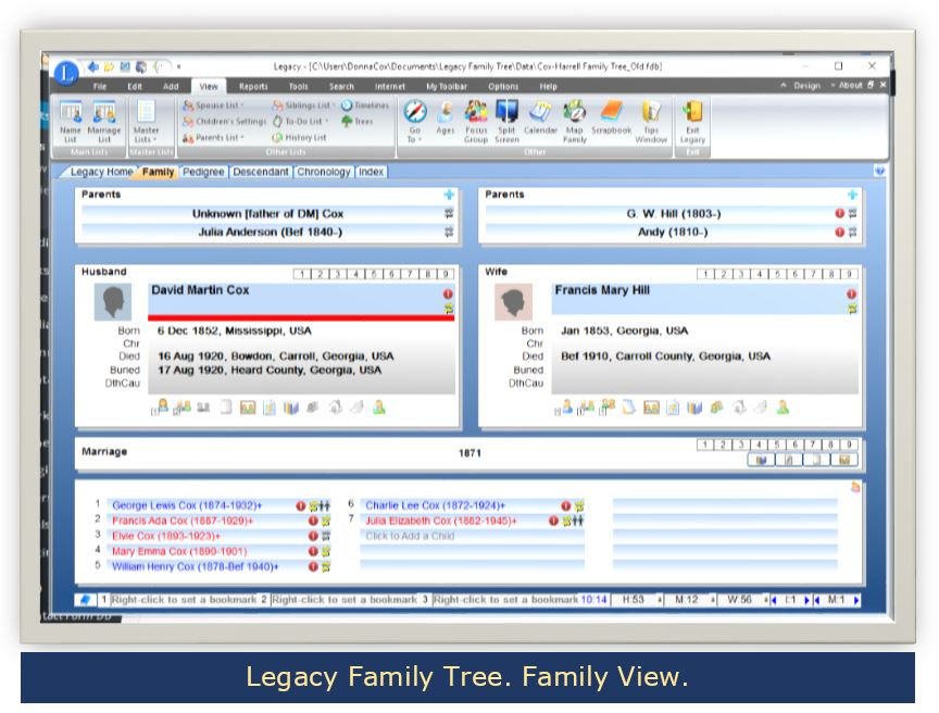 Legacy Family Tree. Family View. Genealogy Desktop Software.