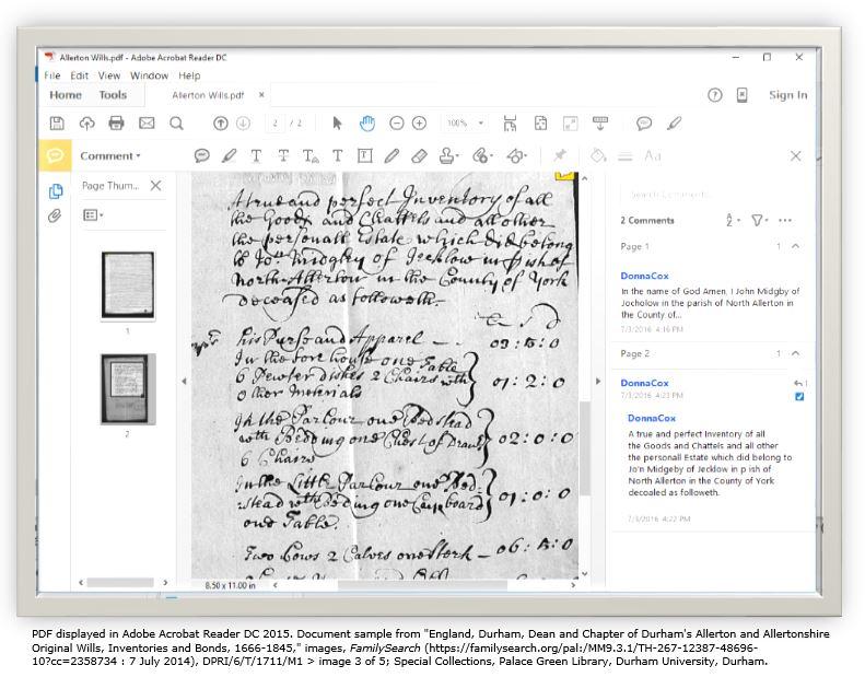 Using PDF reader for transcribing historical manuscripts