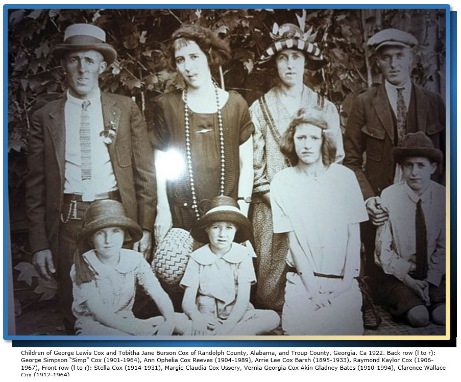 Childless siblings among the children of George Lewis Cox and Tobitha Jane Burson Cox, ca 1922