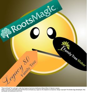 Genealogy Desktop Software Dilemma. Face confused with logos of three competing genealogy software desktop packages: Family Tree Maker, RootsMagic, and Legacy Family Tree